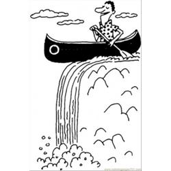 On The Boat In Waterfall Free Coloring Page for Kids