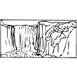 Waterfall Free Coloring Page for Kids