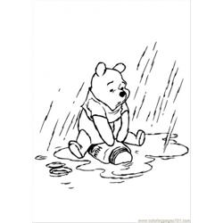 Pooh In The Rainy Day coloring page