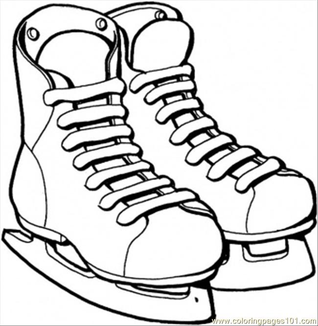 Ice Skates Coloring Page Coloring Page  Free Winter sports