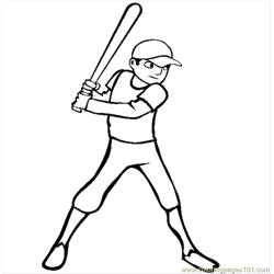 Baseball Free Coloring Page for Kids