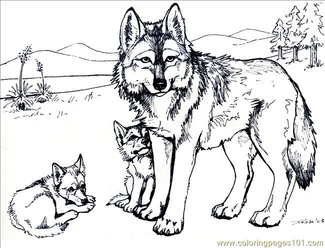 Wolf with Family Coloring Page
