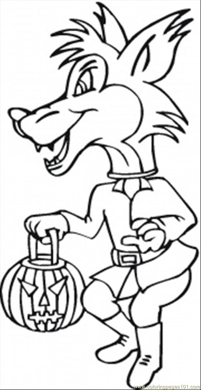 Halloween Party Coloring Page Coloring Page - Free Wolf Coloring ...