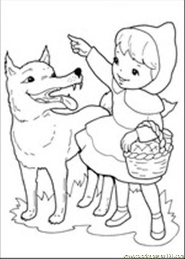 Verwonderend Roodkapje 1 Coloring Page - Free Wolf Coloring Pages QV-69