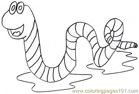 Worm Coloring Page Free Worms