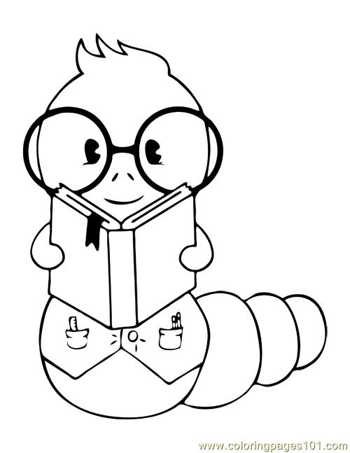 The Bookworm Coloring Page Free Worms Coloring Pages