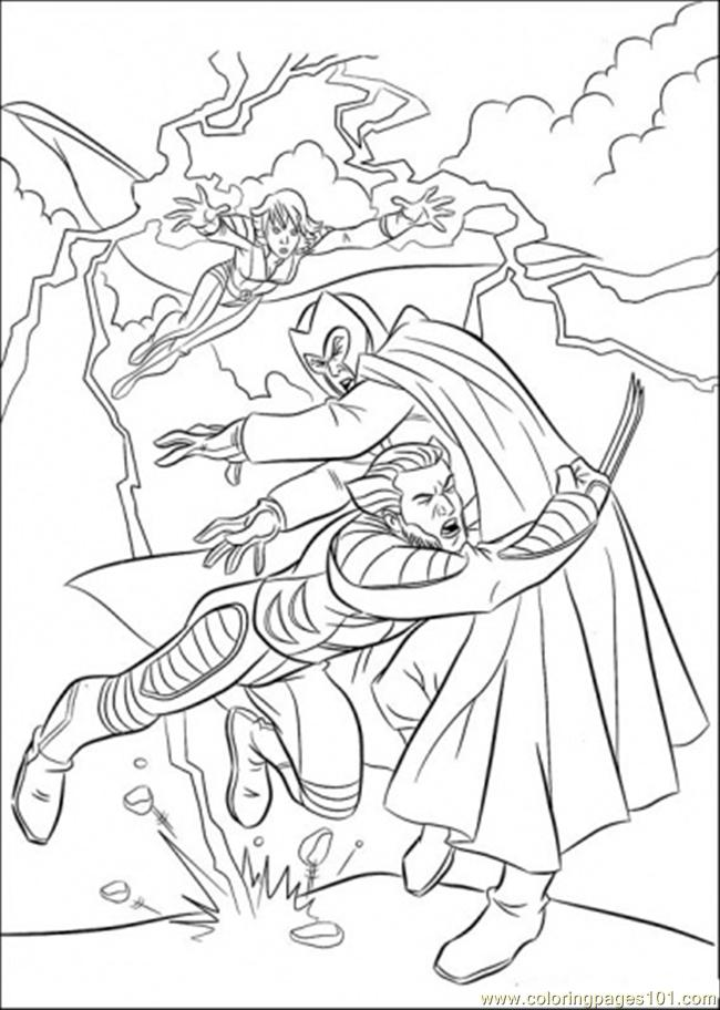 Wolverine And Storm Fight Megatron Coloring Page - Free X-Men ...