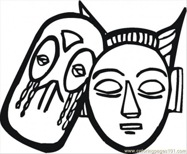 African Masks Drawings African Masks Coloring Page