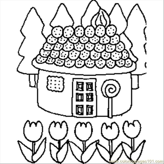 Candy House Drawing Candy House Coloring Page
