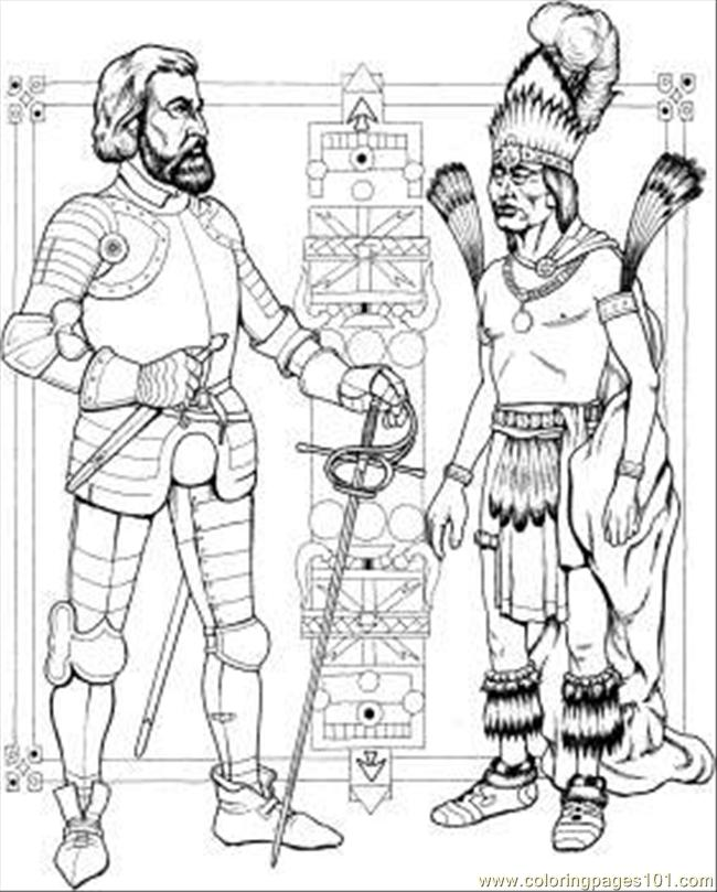 Indian Man And Knight Coloring Page