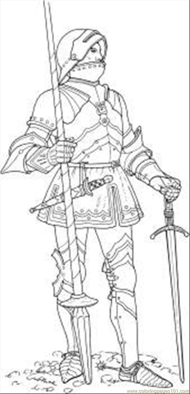 Knight With Two Coloring Page