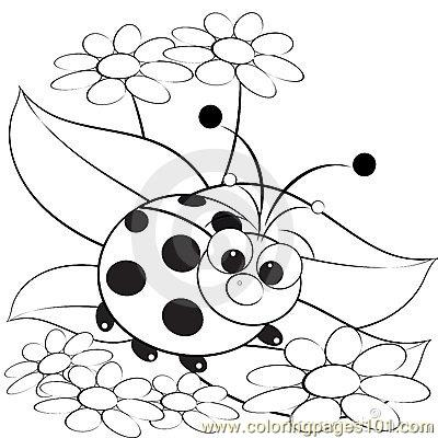 Ladybug and daisy thumb Coloring Page