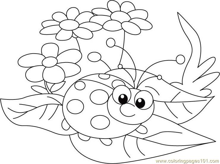 Ladybug Between Leafs Coloring Page