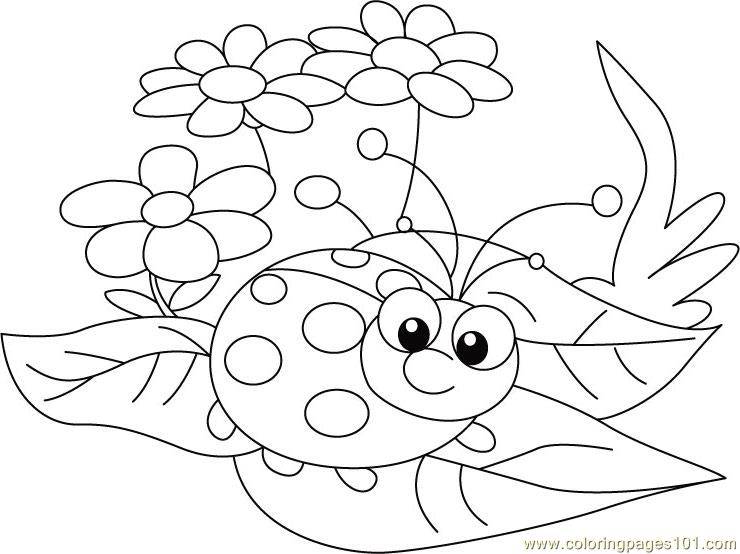Ladybug sit flowers Coloring Page Free ladybugs Coloring Pages