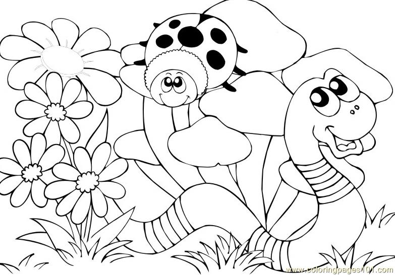 Ladybugs snake Coloring Page