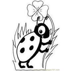 Bugs put flower coloring page