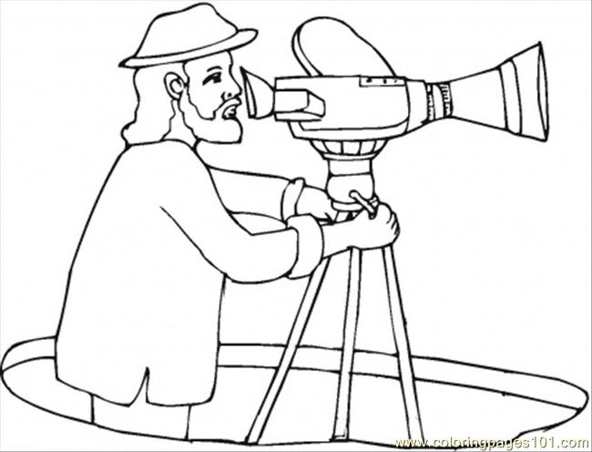 director with video camera coloring page