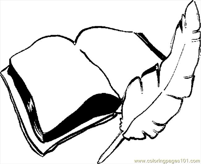 Book And Quill Drawing Quill Book Coloring Page