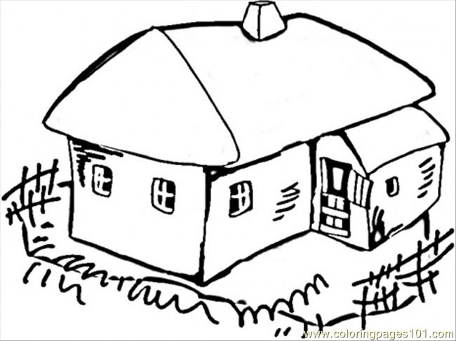 House In The Village Coloring Page