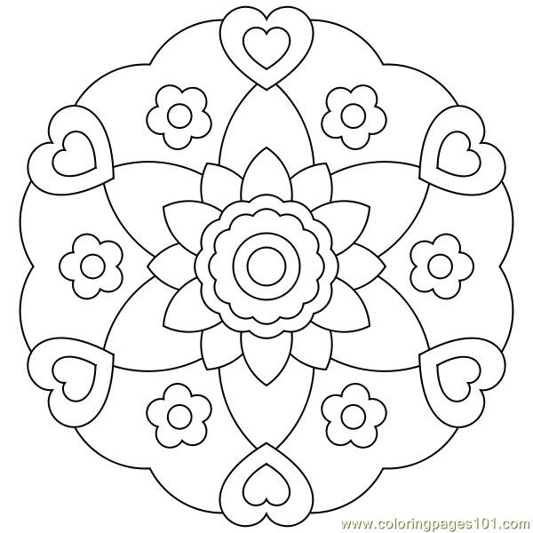 Heart flower circle Coloring Page - Free (various) Coloring Pages ...