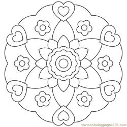Heart flower circle  Free Coloring Page for Kids
