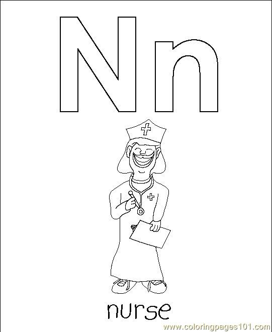 Free N Is For Nurse Coloring Pages