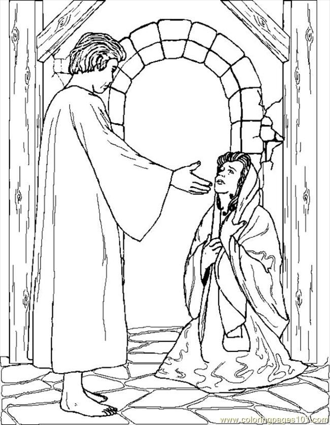 Coloring Pages Angelgabrielappearstomary (Peoples > Angel ...