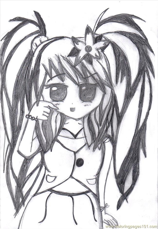 anime girl coloring pages emo - photo#21