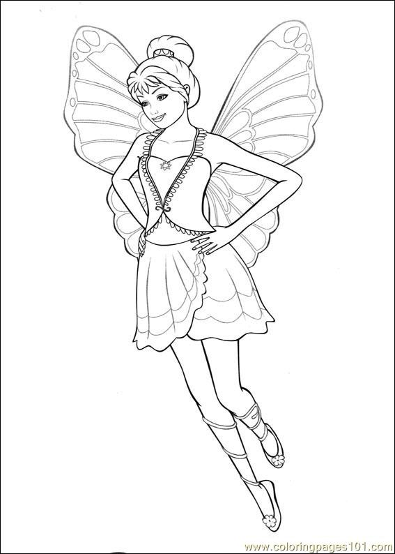 barbie mariposa coloring pages free - photo#12