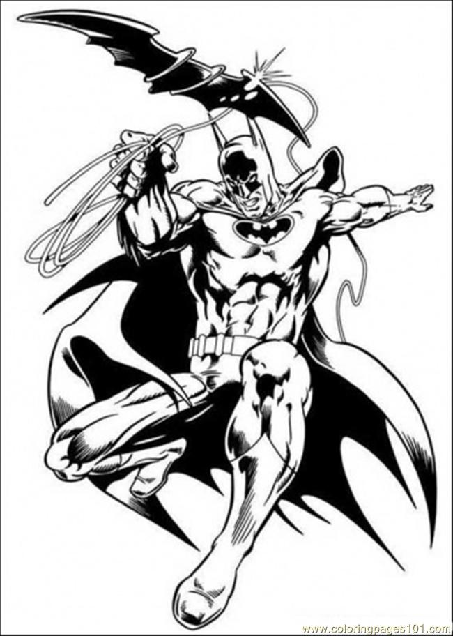 Free printable coloring page batman and his flying weapon cartoons
