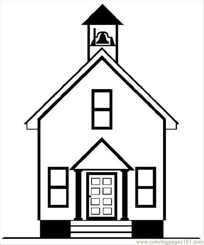 Coloring pages oldschool architecture buildings free for School building coloring pages