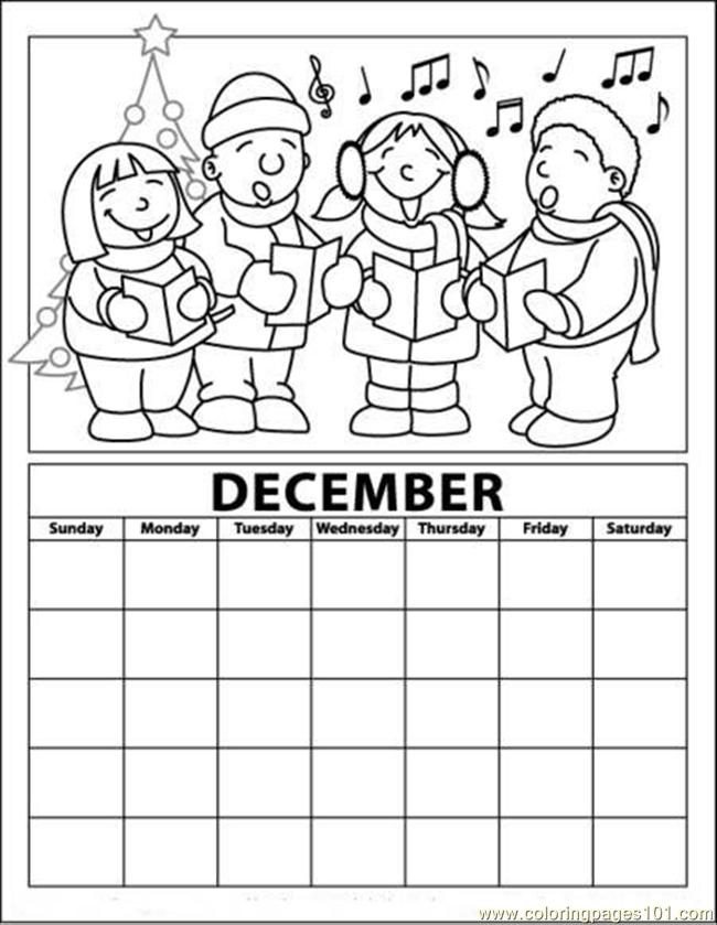 coloringpages101.com - December calendar page with carollers