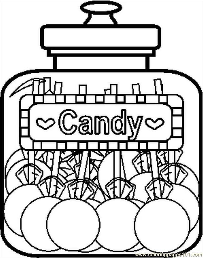 Coloring Pages Candyjar8bw Food Amp Fruits Gt Candy