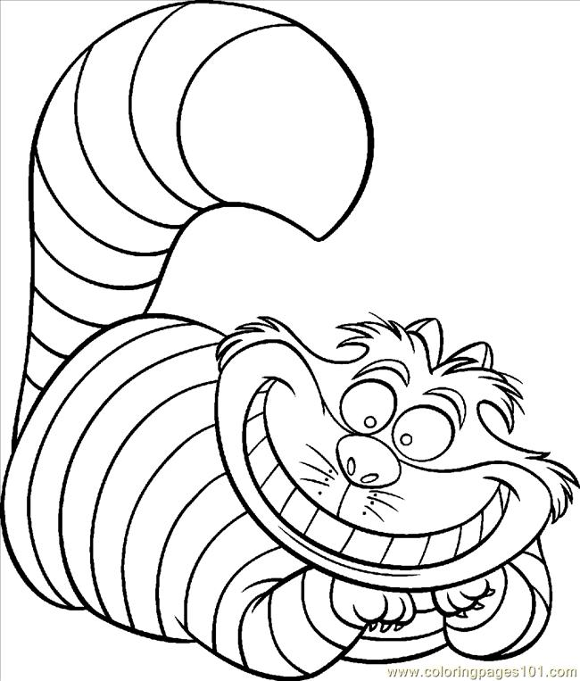 Coloring Pages Cheshire Cat Color Animals Gt Cats Free Cheshire Cat Coloring Page
