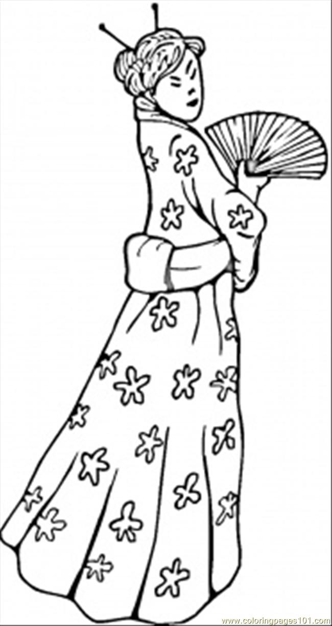 Coloring Pages Chinese Woman Countries