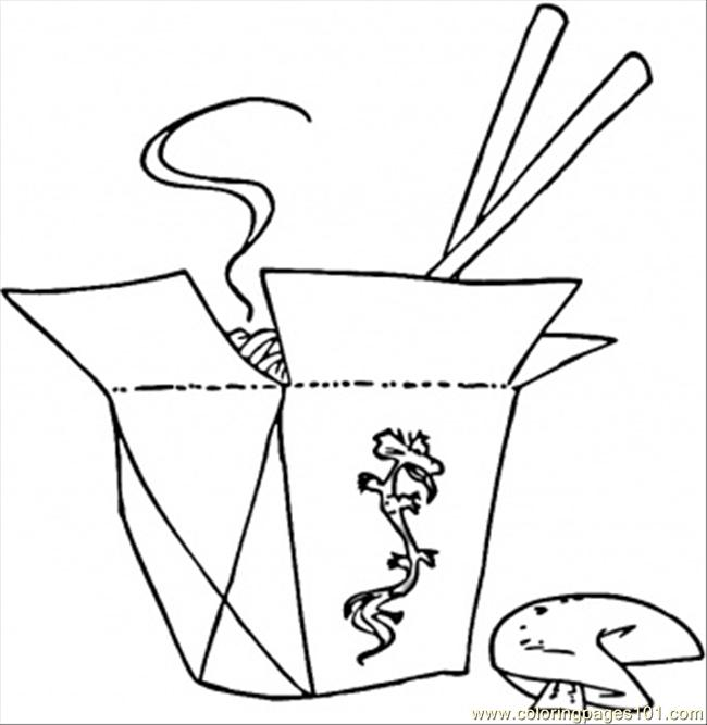 free printable coloring page Chopsticks And Food (Countries > China)