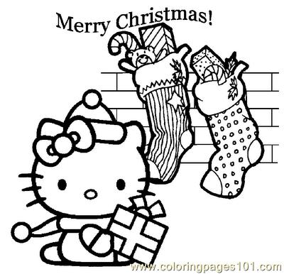 Kitty Coloring Sheets On Printable Page Disney Hello Christmas