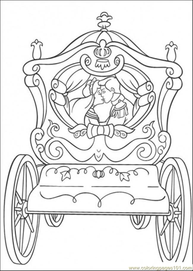 Printable Wedding Coloring Book Pages : Coloring page cinderellas wedding cart cartoons gt cinderella