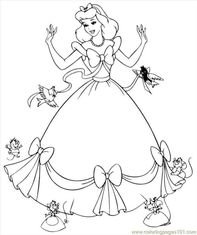 Coloring Pages Inderella Dress Mice Coloring Cartoons