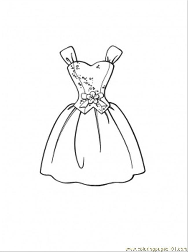 Printable coloring page Beautiful Dress Entertainment Clothing