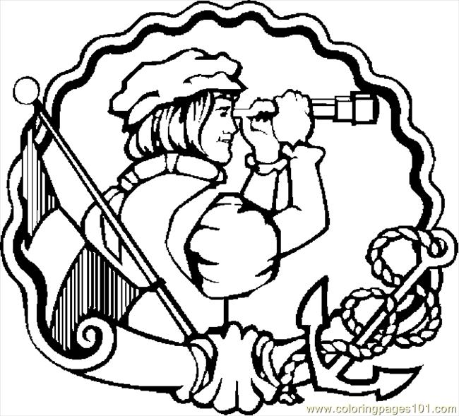 Coloring Pages Columbus With Telescope Holidays