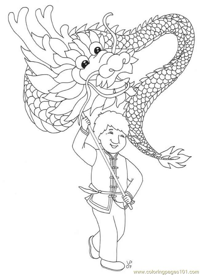free printable coloring image Coloring Dragon Dance