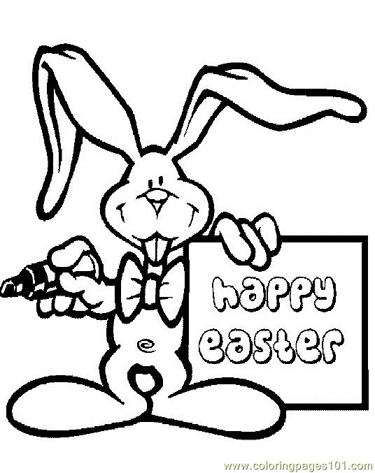 Coloring Pages Happy easter bunnie (Animals > Easter ...
