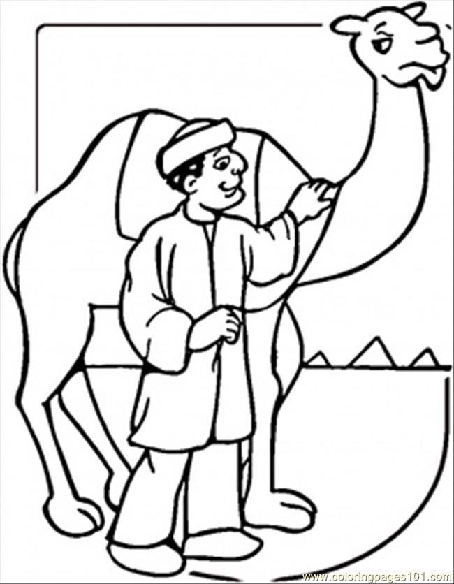 Coloring Pages Camel And Egyptian Man Countries gt Egypt
