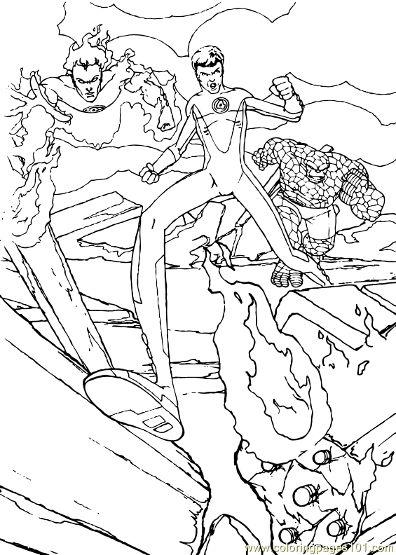 coloring pages fantastic four | Coloring Pages Fantastic Four Coloring Page (3) (Cartoons ...