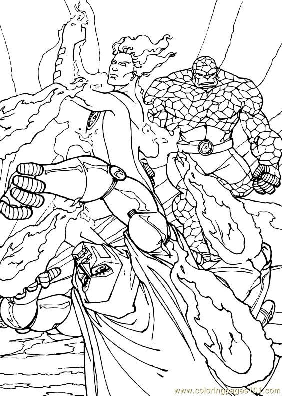 Coloring Pages Fantastic Four Coloring Page 9 Cartoons