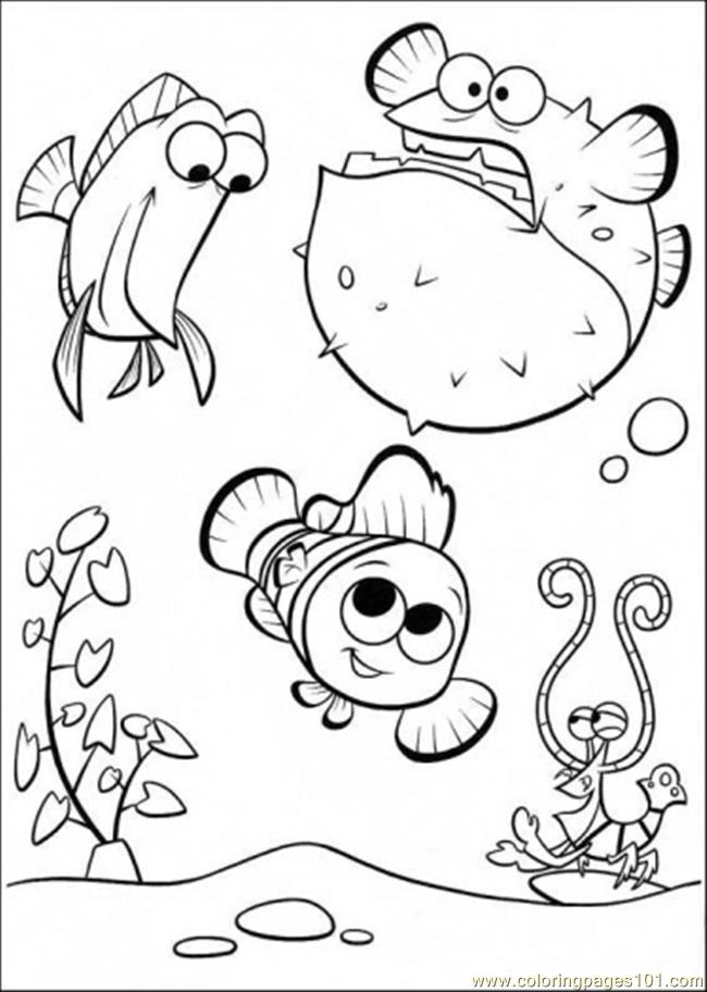 finding nemo coloring pages free - coloring pages happy in tank cartoons finding nemo