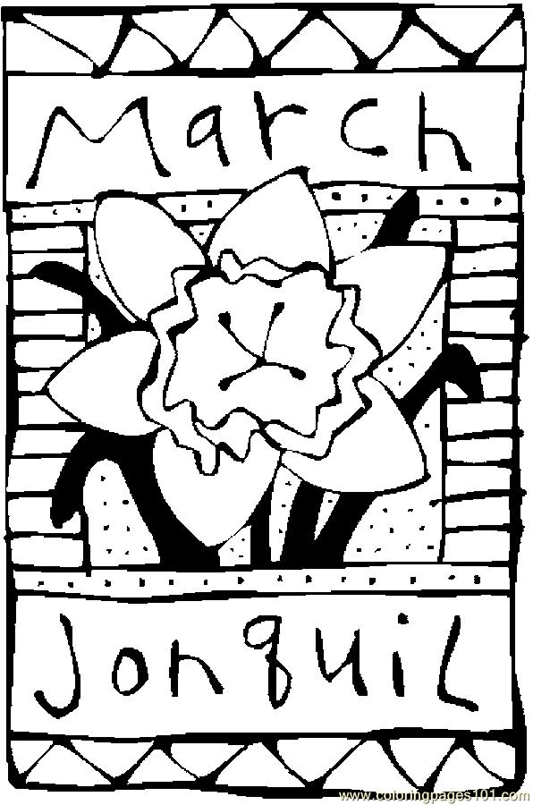 Coloring Pages 03 March Jonquil 2 Natural World Flowers