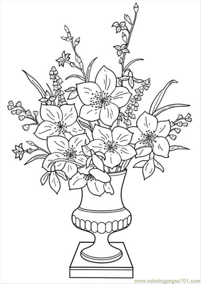 Flowers In A Vase Coloring Pages. Color this Page Online! free