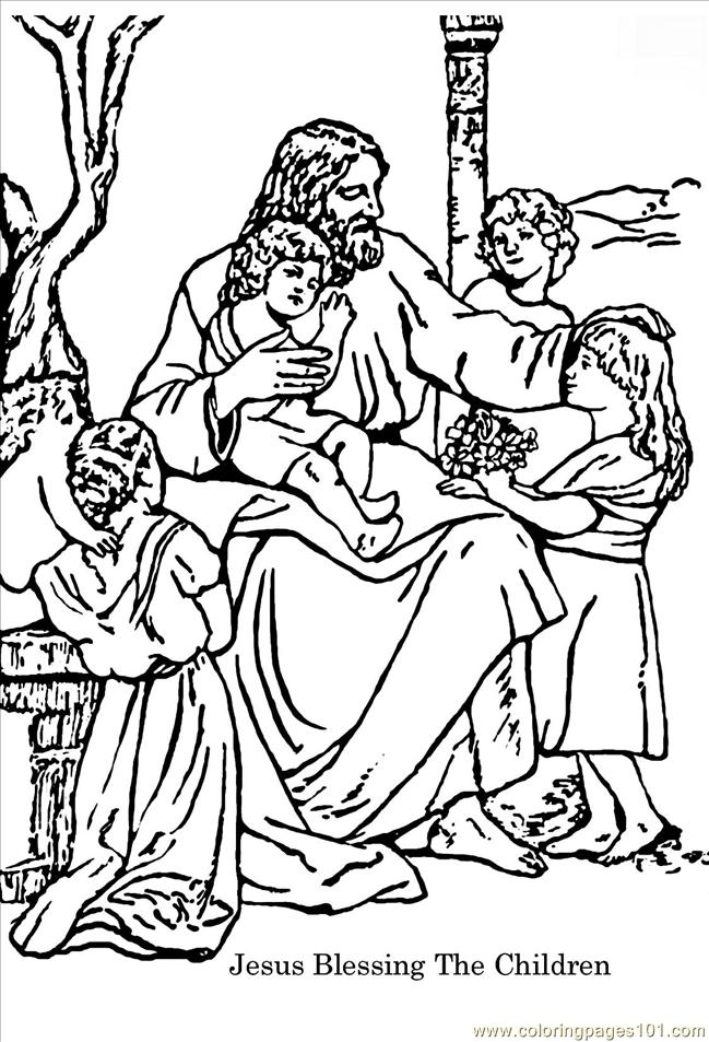Jesus praying in the garden coloring page coloring pages for Jesus blesses the children coloring page